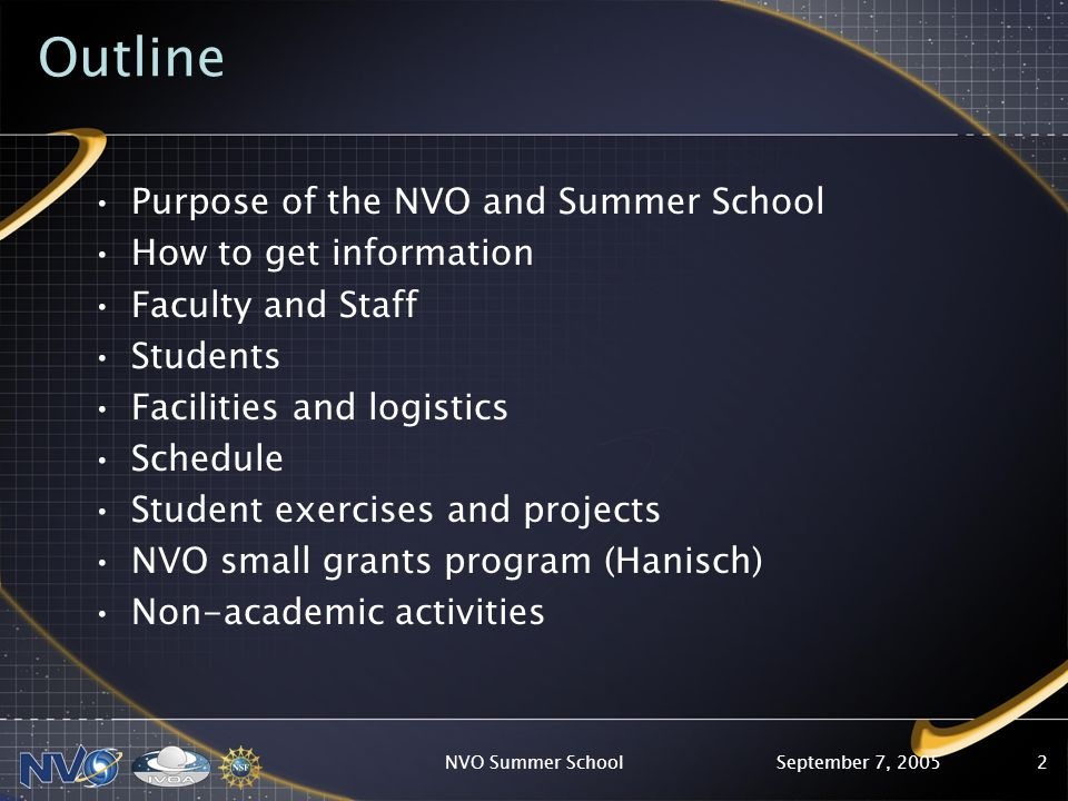 September 7, 2005NVO Summer School2 Outline Purpose of the NVO and Summer School How to get information Faculty and Staff Students Facilities and logistics Schedule Student exercises and projects NVO small grants program (Hanisch) Non-academic activities