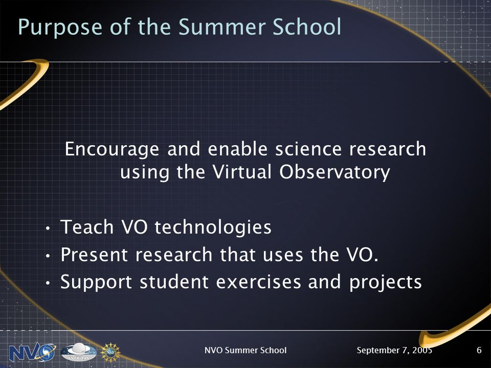 September 7, 2005NVO Summer School6 Purpose of the Summer School Encourage and enable science research using the Virtual Observatory Teach VO technologies Present research that uses the VO.