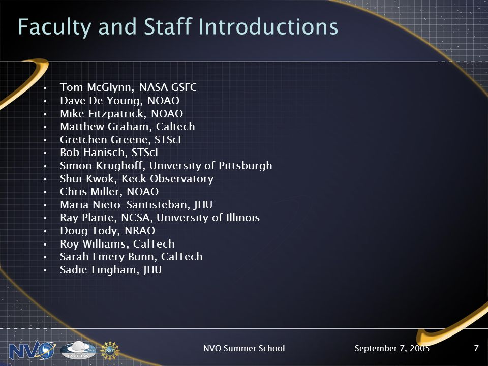 September 7, 2005NVO Summer School7 Faculty and Staff Introductions Tom McGlynn, NASA GSFC Dave De Young, NOAO Mike Fitzpatrick, NOAO Matthew Graham, Caltech Gretchen Greene, STScI Bob Hanisch, STScI Simon Krughoff, University of Pittsburgh Shui Kwok, Keck Observatory Chris Miller, NOAO Maria Nieto-Santisteban, JHU Ray Plante, NCSA, University of Illinois Doug Tody, NRAO Roy Williams, CalTech Sarah Emery Bunn, CalTech Sadie Lingham, JHU