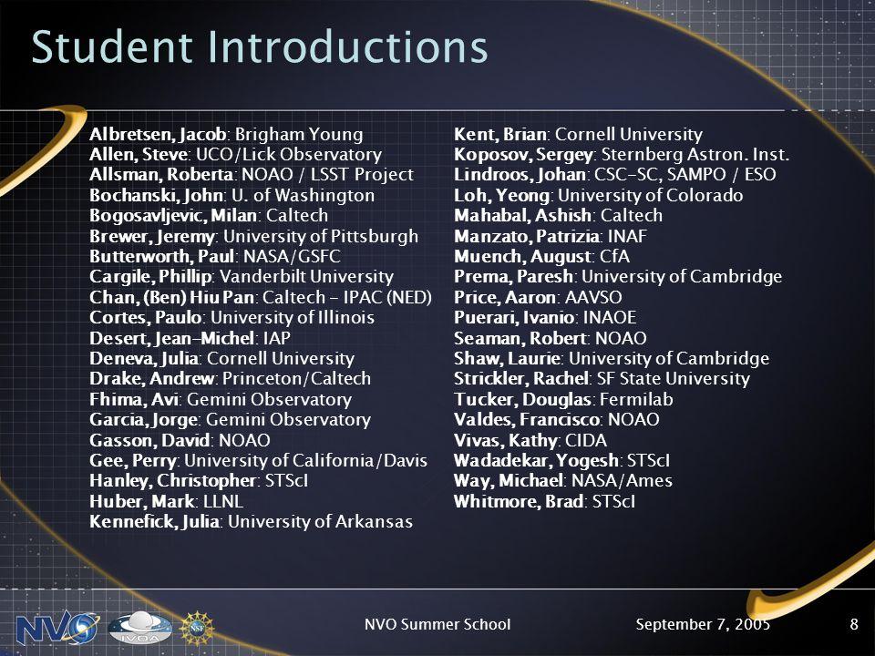 September 7, 2005NVO Summer School8 Student Introductions Albretsen, Jacob: Brigham Young Allen, Steve: UCO/Lick Observatory Allsman, Roberta: NOAO / LSST Project Bochanski, John: U.