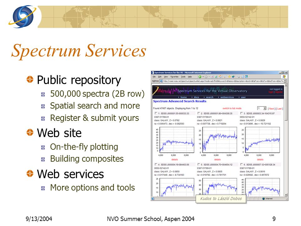 9/13/2004NVO Summer School, Aspen 20049 Spectrum Services Public repository 500,000 spectra (2B row) Spatial search and more Register & submit yours Web site On-the-fly plotting Building composites Web services More options and tools Kudos to László Dobos