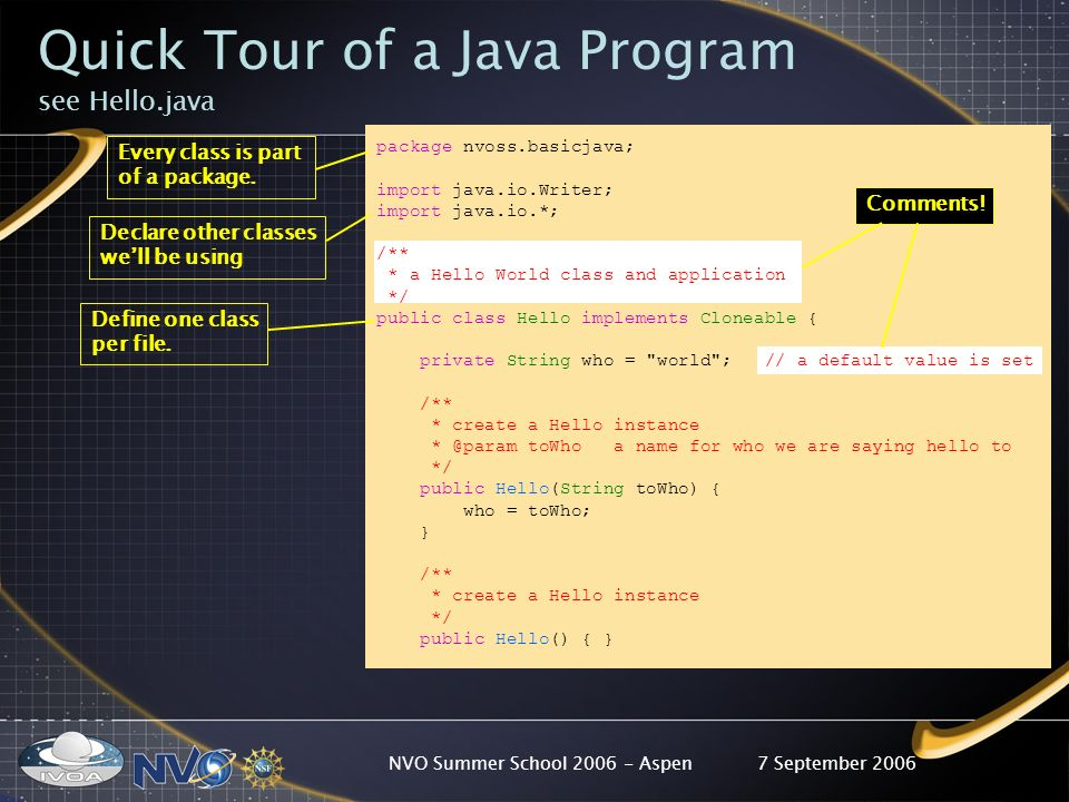 7 September 2006NVO Summer School 2006 - Aspen package nvoss.basicjava; import java.io.Writer; import java.io.*; /** * a Hello World class and application */ public class Hello implements Cloneable { private String who = world ; // a default value is set /** * create a Hello instance * @param toWho a name for who we are saying hello to */ public Hello(String toWho) { who = toWho; } /** * create a Hello instance */ public Hello() { } Define one class per file.
