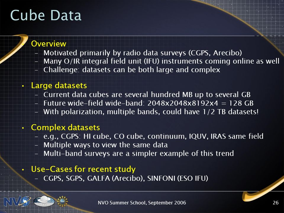 NVO Summer School, September Cube Data Overview –Motivated primarily by radio data surveys (CGPS, Arecibo) –Many O/IR integral field unit (IFU) instruments coming online as well –Challenge: datasets can be both large and complex Large datasets –Current data cubes are several hundred MB up to several GB –Future wide-field wide-band: 2048x2048x8192x4 = 128 GB –With polarization, multiple bands, could have 1/2 TB datasets.