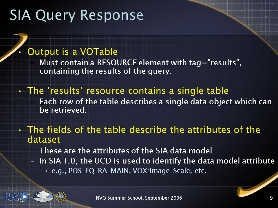 NVO Summer School, September SIA Query Response Output is a VOTable –Must contain a RESOURCE element with tag= results , containing the results of the query.