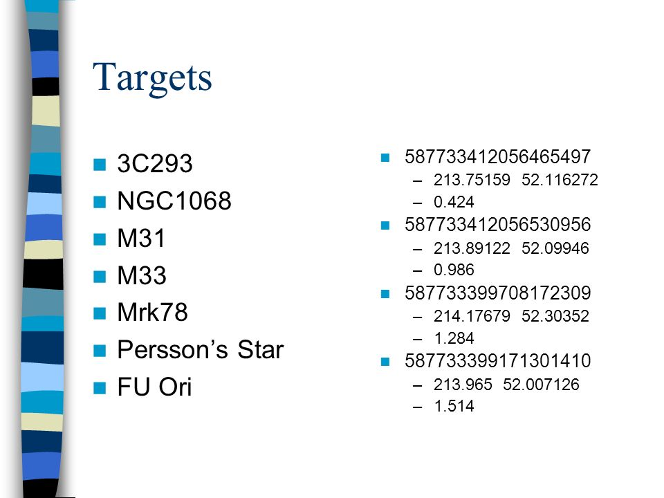 Targets 3C293 NGC1068 M31 M33 Mrk78 Perssons Star FU Ori 587733412056465497 –213.75159 52.116272 –0.424 587733412056530956 –213.89122 52.09946 –0.986