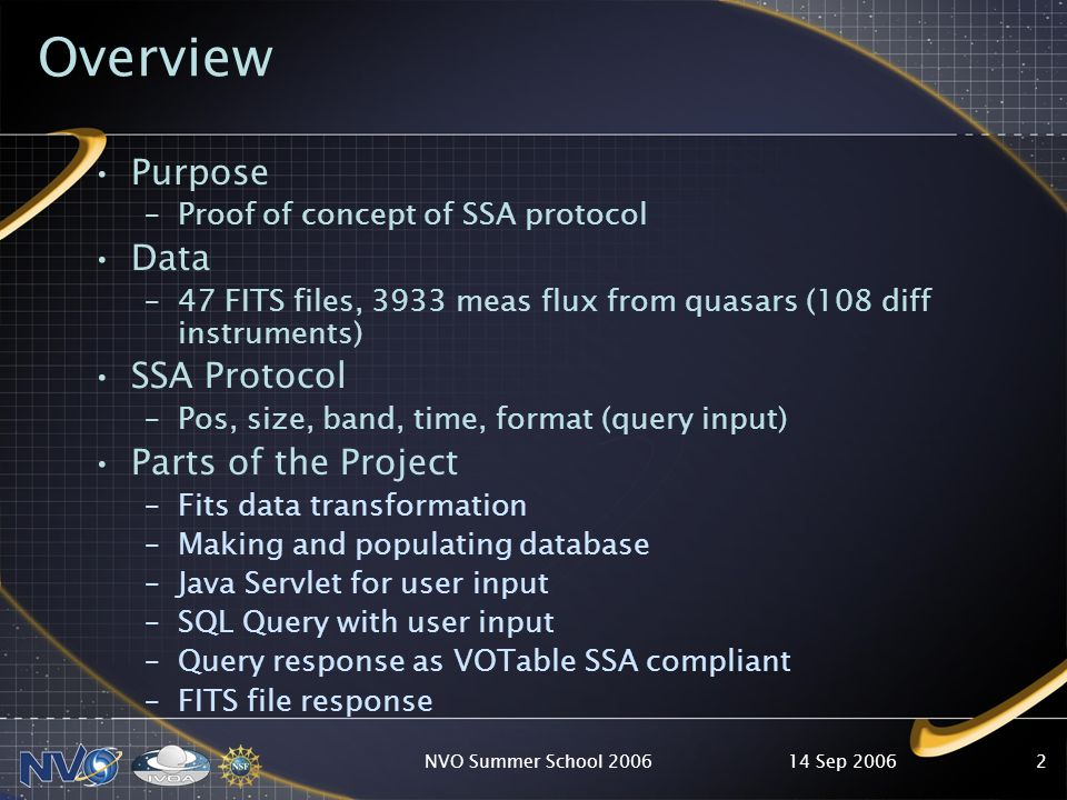 14 Sep 2006NVO Summer School Overview Purpose –Proof of concept of SSA protocol Data –47 FITS files, 3933 meas flux from quasars (108 diff instruments) SSA Protocol –Pos, size, band, time, format (query input) Parts of the Project –Fits data transformation –Making and populating database –Java Servlet for user input –SQL Query with user input –Query response as VOTable SSA compliant –FITS file response