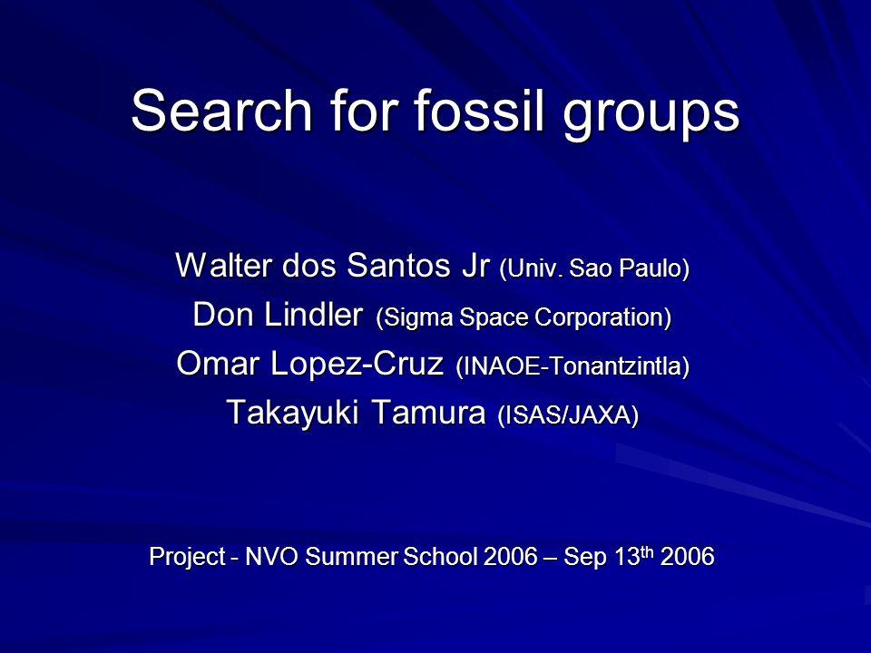 Search for fossil groups Walter dos Santos Jr (Univ. Sao Paulo) Don Lindler (Sigma Space Corporation) Omar Lopez-Cruz (INAOE-Tonantzintla) Takayuki Ta