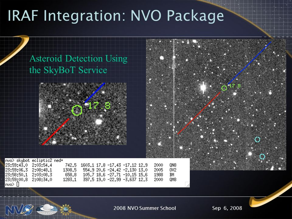Sep 6, 20082008 NVO Summer School IRAF Integration: NVO Package Asteroid Detection Using the SkyBoT Service