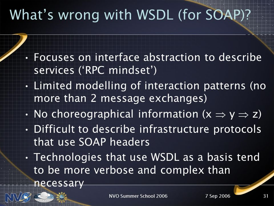 7 Sep 2006NVO Summer School 200631 Whats wrong with WSDL (for SOAP).