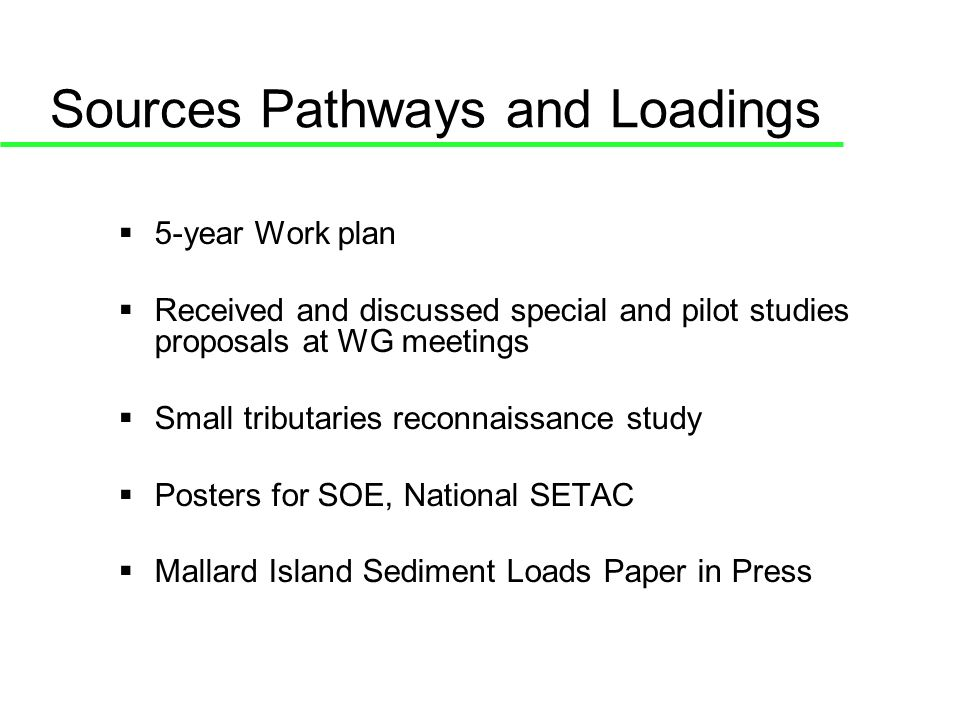 Sources Pathways and Loadings 5-year Work plan Received and discussed special and pilot studies proposals at WG meetings Small tributaries reconnaissance study Posters for SOE, National SETAC Mallard Island Sediment Loads Paper in Press