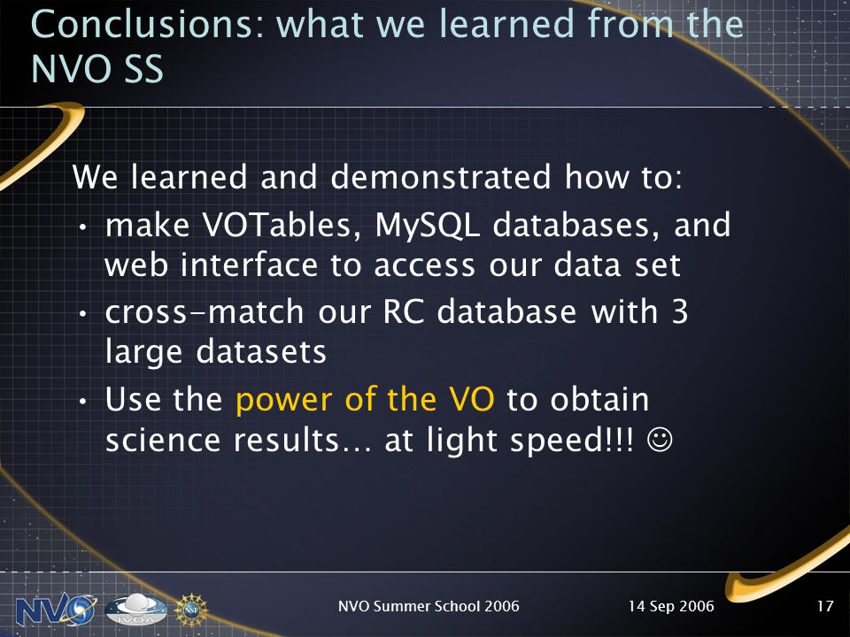 14 Sep 2006NVO Summer School 200617 Conclusions: what we learned from the NVO SS We learned and demonstrated how to: make VOTables, MySQL databases, and web interface to access our data set cross-match our RC database with 3 large datasets Use the power of the VO to obtain science results… at light speed!!!