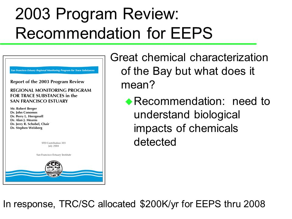 EEPS – 2006 Shiner Surf Perch Study For 2006: Identify new reference site Develop laboratory culture Continue to evaluate biomarkers Develop anti-body tests for EDC Continue to examine fish for effects and sex ratios