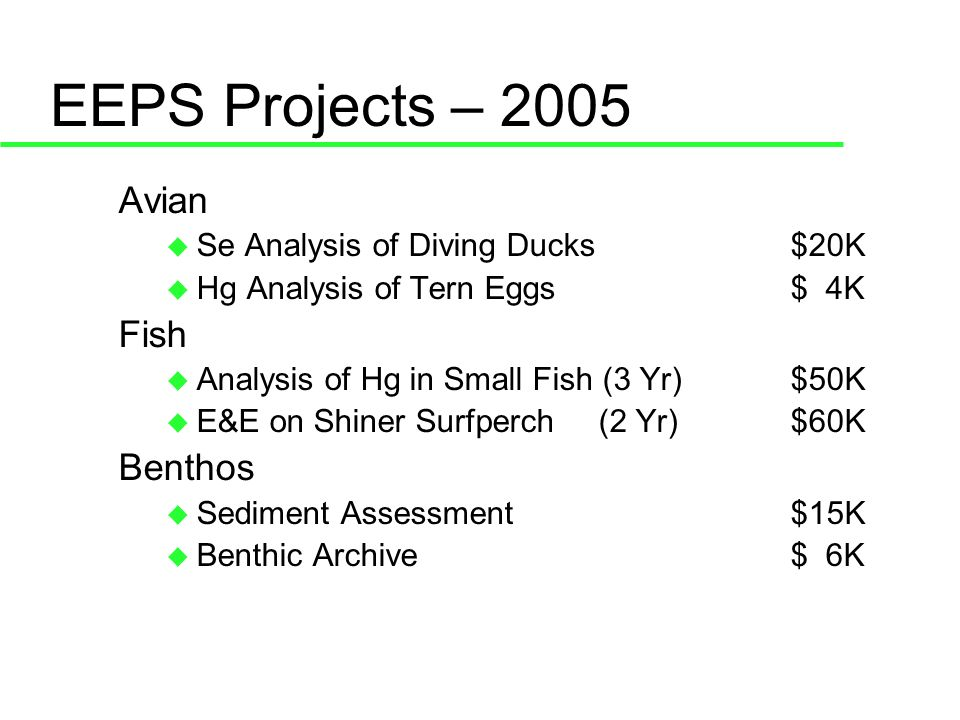 EEPS 2005 & 2006 Avian 2005: Se in diving ducks Report early 2006 (2005 and 2002 data) 2005: Hg in Forster, Least, and Caspian tern eggs Report early 2006 2006: Egg injection study?