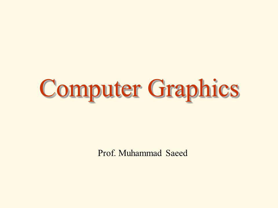 Computer Graphics Prof. Muhammad Saeed