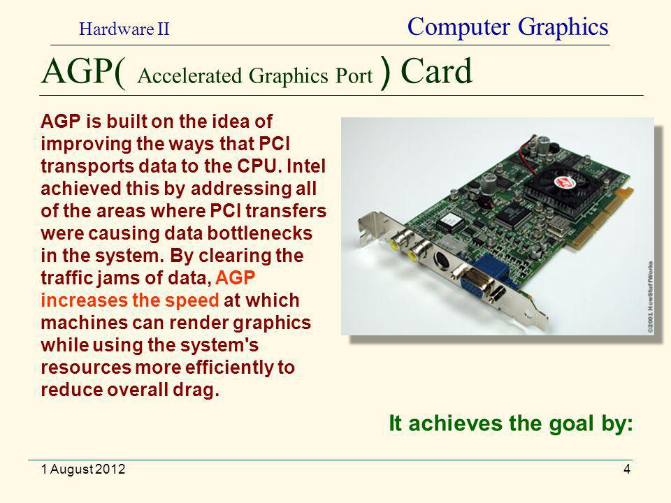 AGP( Accelerated Graphics Port ) Card 4 AGP is built on the idea of improving the ways that PCI transports data to the CPU.