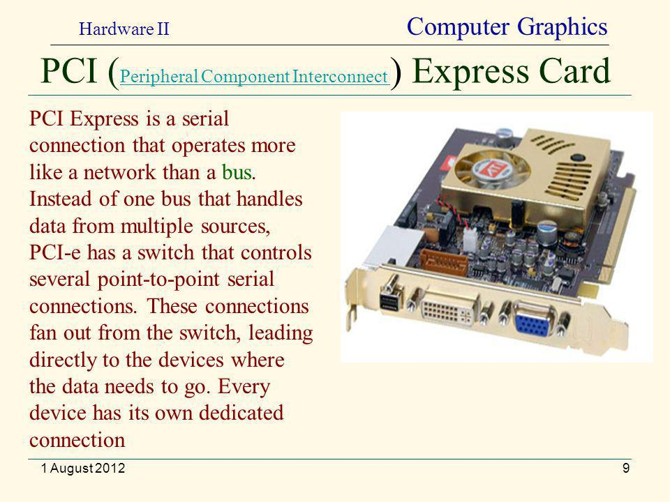 PCI ( Peripheral Component Interconnect ) Express Card Peripheral Component Interconnect 9 PCI Express is a serial connection that operates more like a network than a bus.