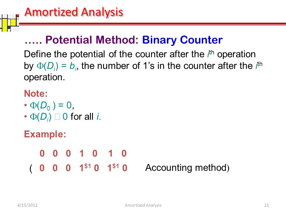 ….. Potential Method: Binary Counter Define the potential of the counter after the i th operation by (D i ) = b i, the number of 1s in the counter aft