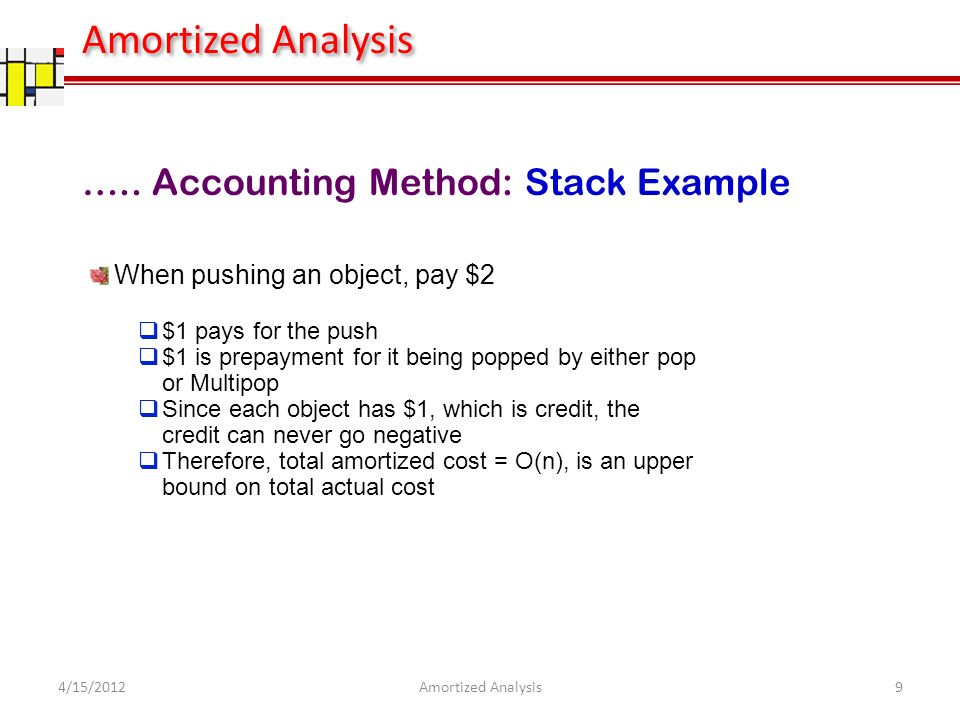 ….. Accounting Method: Stack Example When pushing an object, pay $2 $1 pays for the push $1 is prepayment for it being popped by either pop or Multipo