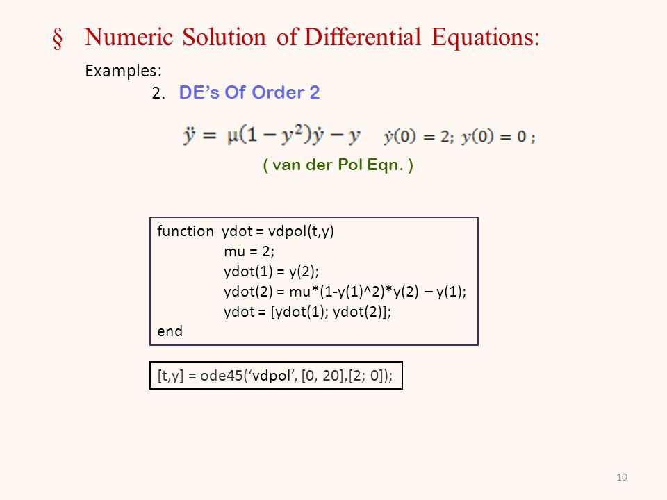 10 §Numeric Solution of Differential Equations: Examples: 2.