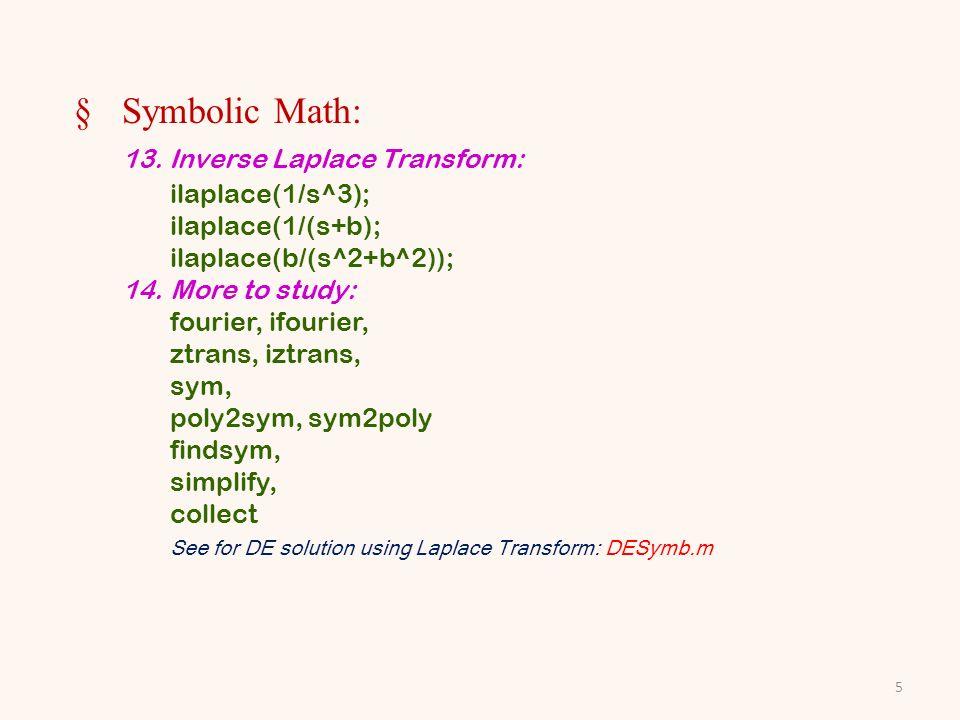 §Symbolic Math: 13.