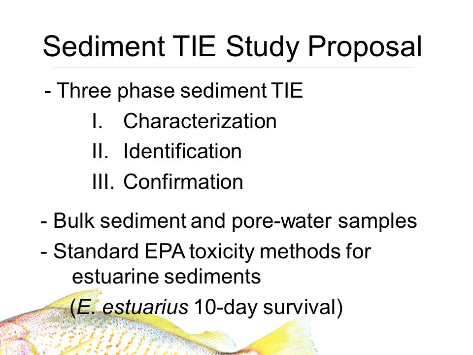 Sediment TIE Study Proposal - Three phase sediment TIE I.Characterization II.Identification III.Confirmation - Bulk sediment and pore-water samples - Standard EPA toxicity methods for estuarine sediments (E.
