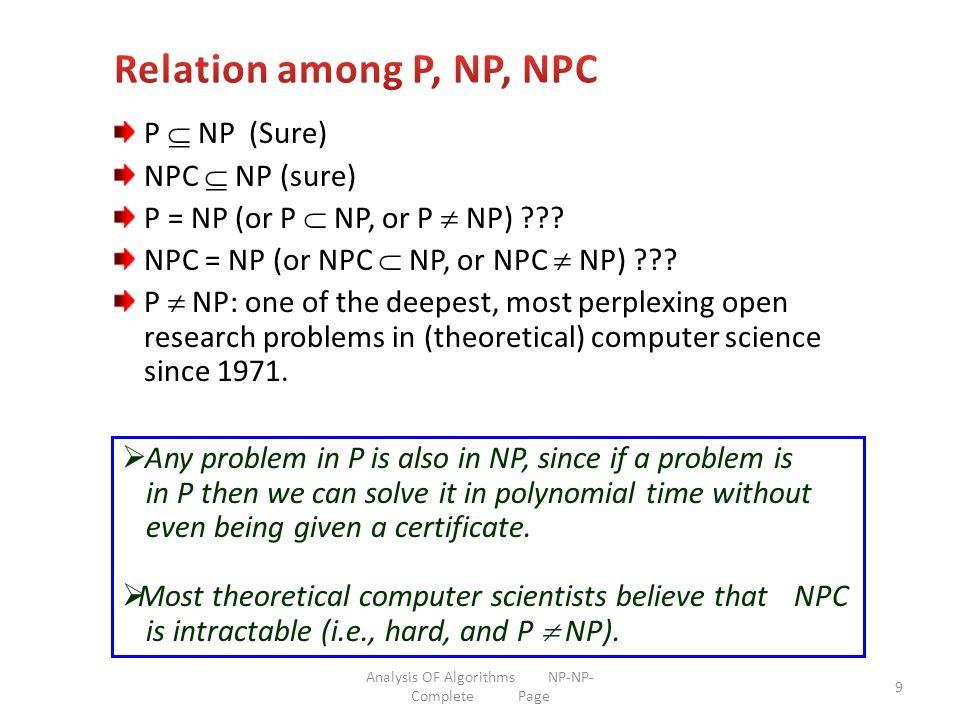 10 NPC P NP P NP, NPC NP, P NPC =