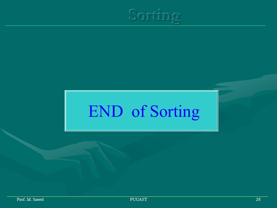 Prof. M. SaeedFUUAST28 END of Sorting