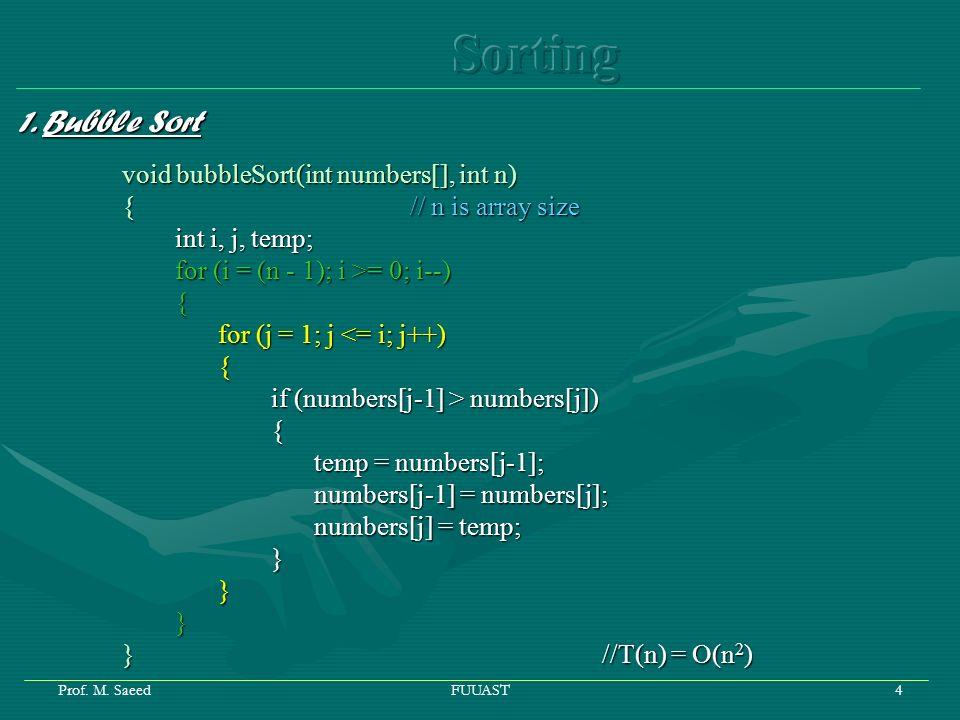 Prof. M. SaeedFUUAST5 Analysis of Bubble Sort = = = T(n) = O(n 2 )
