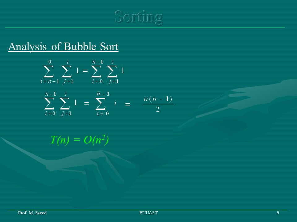 Prof. M. SaeedFUUAST5 Analysis of Bubble Sort = = = T(n) = O(n 2 )