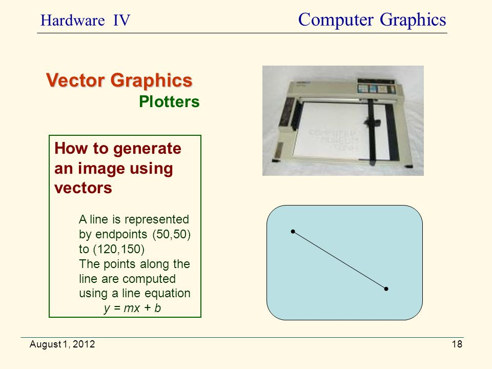 August 1, 2012 Vector Graphics Plotters How to generate an image using vectors A line is represented by endpoints (50,50) to (120,150) The points alon