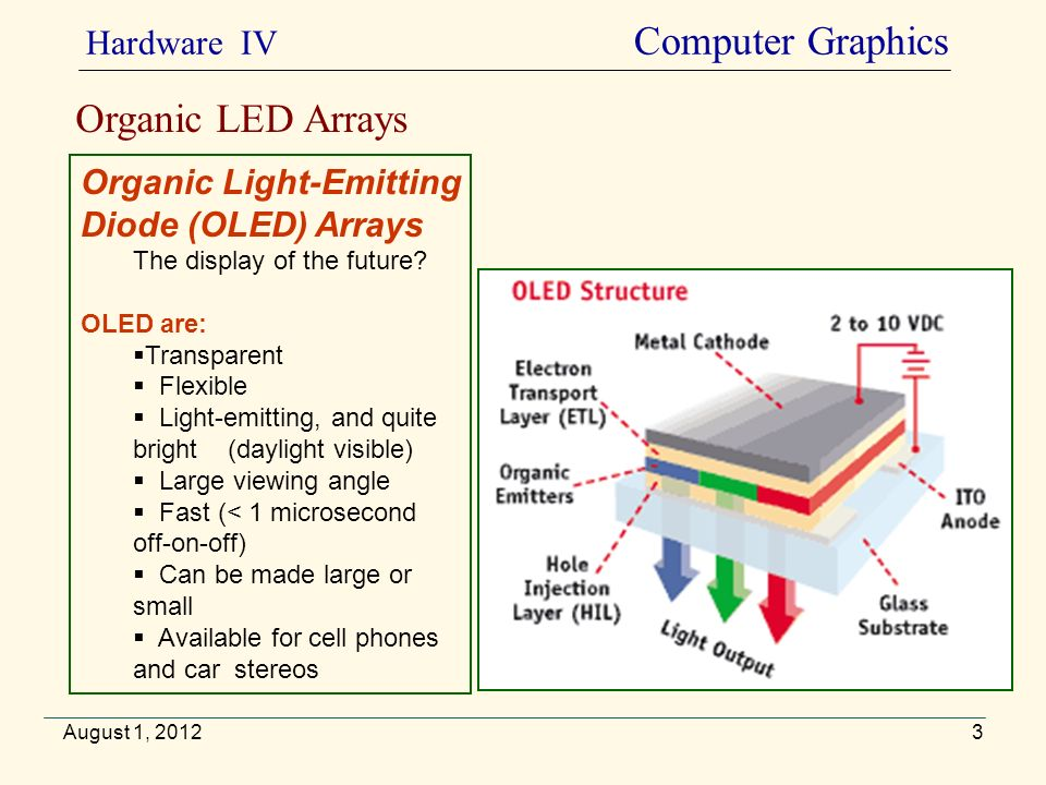 August 1, 2012 Organic LED Arrays Organic Light-Emitting Diode (OLED) Arrays The display of the future? OLED are: Transparent Flexible Light-emitting,