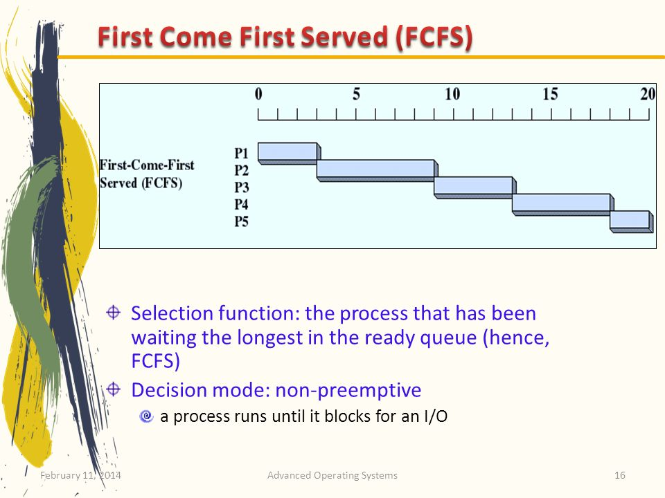 February 11, 2014Advanced Operating Systems16 Selection function: the process that has been waiting the longest in the ready queue (hence, FCFS) Decis
