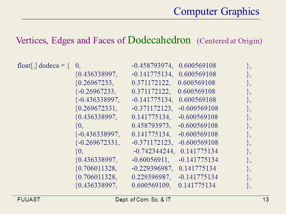 FUUASTDept. of Com. Sc. & IT13 Computer Graphics float[,] dodeca = { 0, -0.458793974, 0.600569108 }, {0.436338997, -0.141775134, 0.600569108 }, {0.269