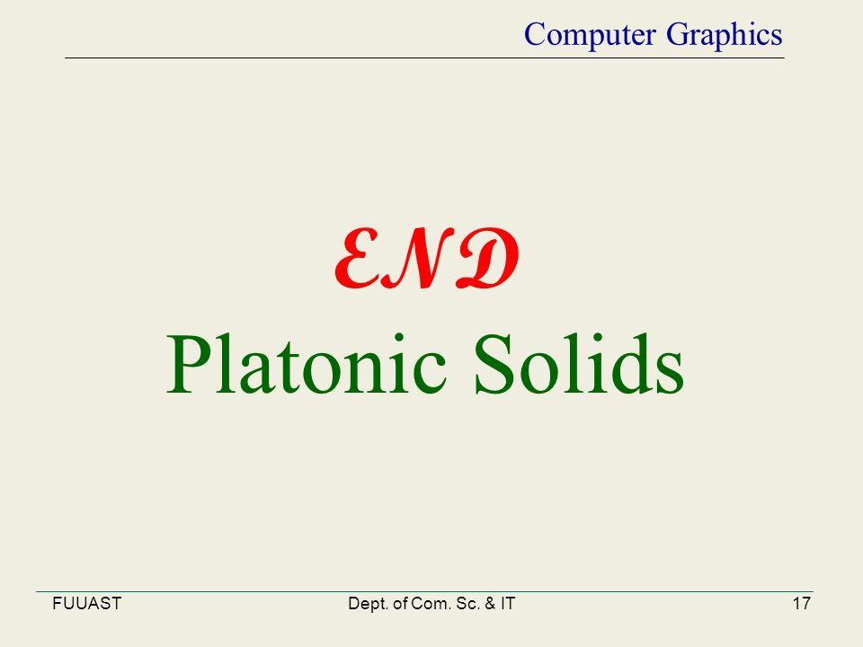 FUUASTDept. of Com. Sc. & IT17 Computer Graphics END Platonic Solids