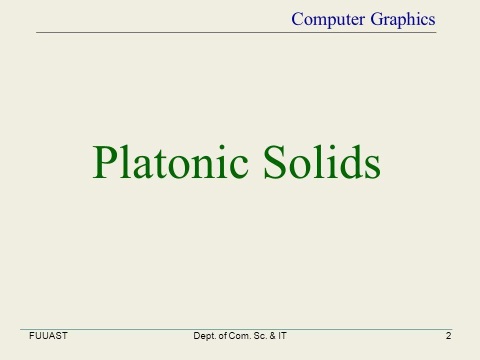FUUASTDept. of Com. Sc. & IT2 Computer Graphics Platonic Solids