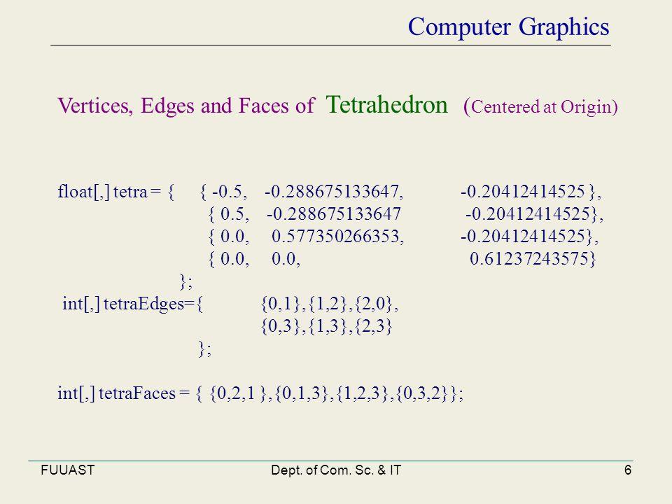 FUUASTDept. of Com. Sc. & IT6 Computer Graphics float[,] tetra = { { -0.5, -0.288675133647, -0.20412414525 }, { 0.5, -0.288675133647 -0.20412414525},