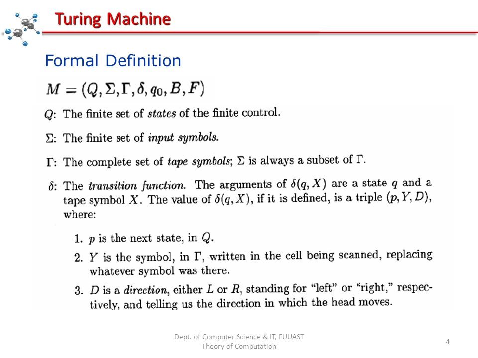 Dept. of Computer Science & IT, FUUAST Theory of Computation 5 Turing Machine