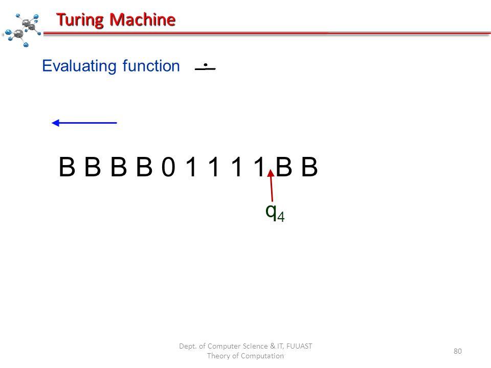 Dept. of Computer Science & IT, FUUAST Theory of Computation 80 Evaluating function B B B B 0 1 1 1 1 B B q4q4 Turing Machine