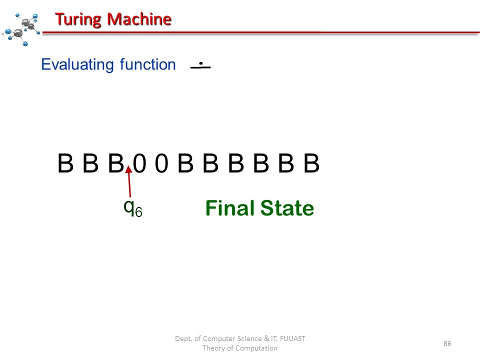 Dept. of Computer Science & IT, FUUAST Theory of Computation 86 Evaluating function B B B 0 0 B B B B B B q6q6 Turing Machine Final State