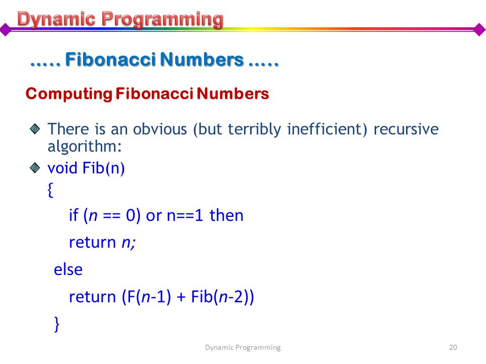 Computing Fibonacci Numbers There is an obvious (but terribly inefficient) recursive algorithm: void Fib(n) { if (n == 0) or n==1 then return n; else