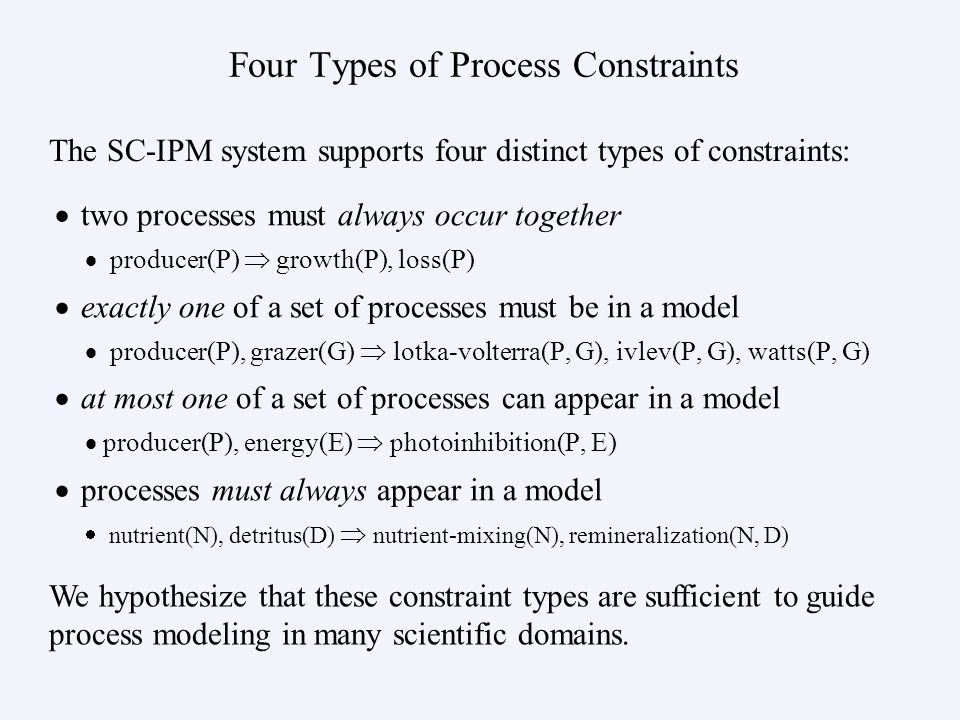 Four Types of Process Constraints two processes must always occur together producer(P) growth(P), loss(P) exactly one of a set of processes must be in a model producer(P), grazer(G) lotka-volterra(P, G), ivlev(P, G), watts(P, G) at most one of a set of processes can appear in a model producer(P), energy(E) photoinhibition(P, E) processes must always appear in a model nutrient(N), detritus(D) nutrient-mixing(N), remineralization(N, D) The SC-IPM system supports four distinct types of constraints: We hypothesize that these constraint types are sufficient to guide process modeling in many scientific domains.