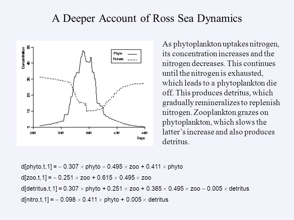 A Deeper Account of Ross Sea Dynamics d[phyto,t,1] = 0.307 phyto 0.495 zoo + 0.411 phyto d[zoo,t,1] = 0.251 zoo + 0.615 0.495 zoo d[detritus,t,1] = 0.307 phyto + 0.251 zoo + 0.385 0.495 zoo 0.005 detritus d[nitro,t,1] = 0.098 0.411 phyto + 0.005 detritus As phytoplankton uptakes nitrogen, its concentration increases and the nitrogen decreases.