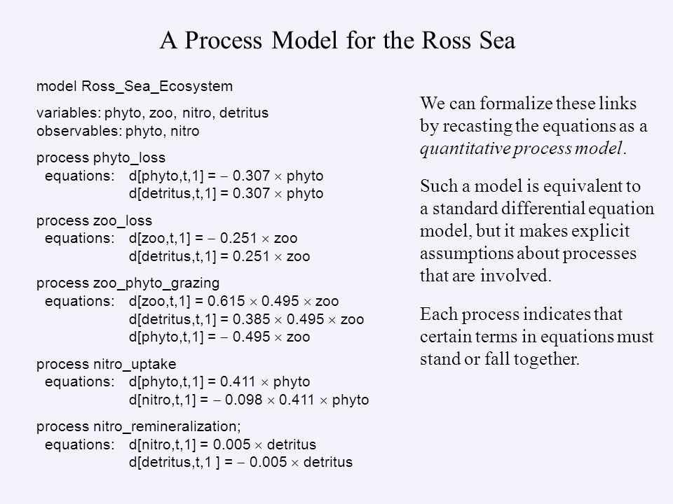A Process Model for the Ross Sea model Ross_Sea_Ecosystem variables: phyto, zoo, nitro, detritus observables: phyto, nitro process phyto_loss equations:d[phyto,t,1] = 0.307 phyto d[detritus,t,1] = 0.307 phyto process zoo_loss equations:d[zoo,t,1] = 0.251 zoo d[detritus,t,1] = 0.251 zoo process zoo_phyto_grazing equations:d[zoo,t,1] = 0.615 0.495 zoo d[detritus,t,1] = 0.385 0.495 zoo d[phyto,t,1] = 0.495 zoo process nitro_uptake equations:d[phyto,t,1] = 0.411 phyto d[nitro,t,1] = 0.098 0.411 phyto process nitro_remineralization; equations:d[nitro,t,1] = 0.005 detritus d[detritus,t,1 ] = 0.005 detritus We can formalize these links by recasting the equations as a quantitative process model.