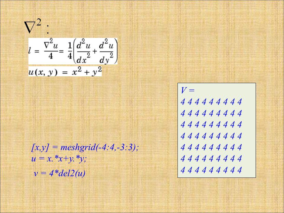 [x,y] = meshgrid(-4:4,-3:3); u = x.*x+y.*y; v = 4*del2(u) V = 4 4 4 4 4 4 4 4 4