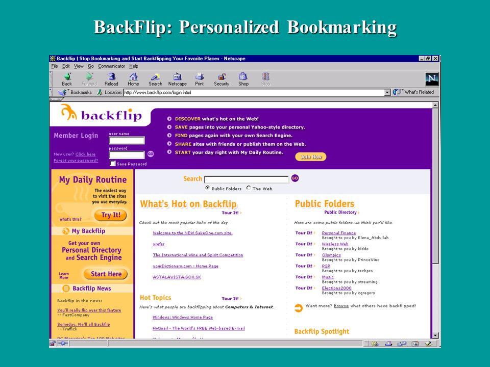 BackFlip: Personalized Bookmarking