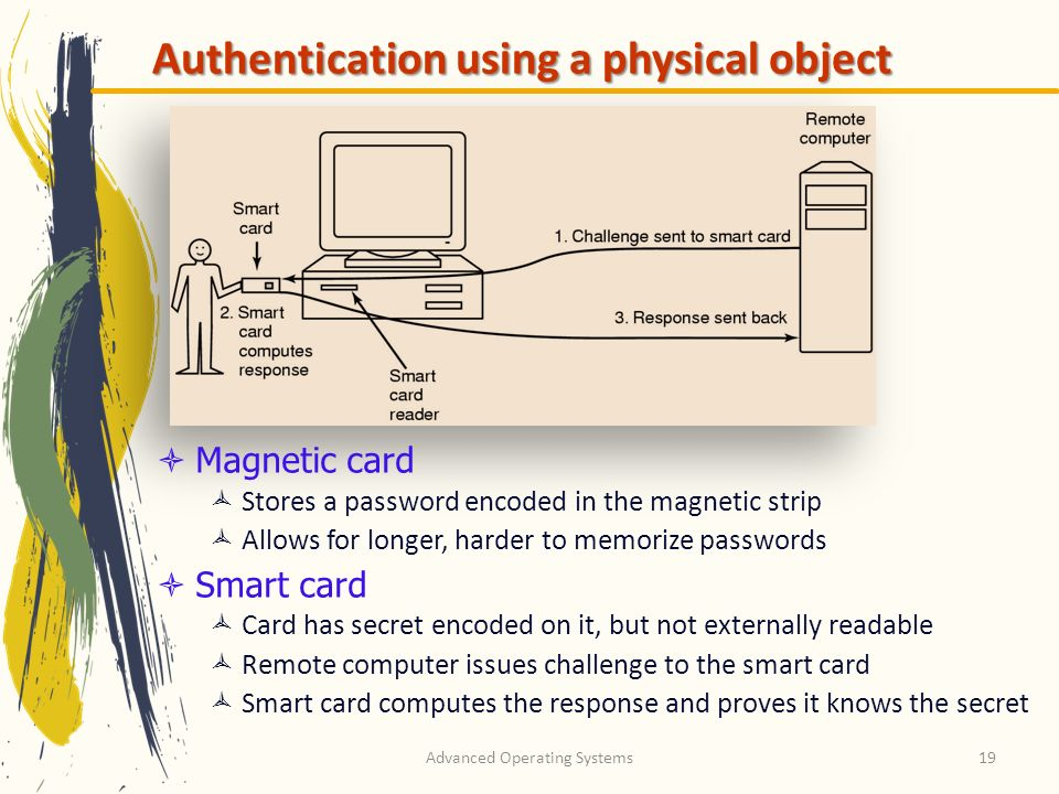 Advanced Operating Systems19 Authentication using a physical object Magnetic card Stores a password encoded in the magnetic strip Allows for longer, h