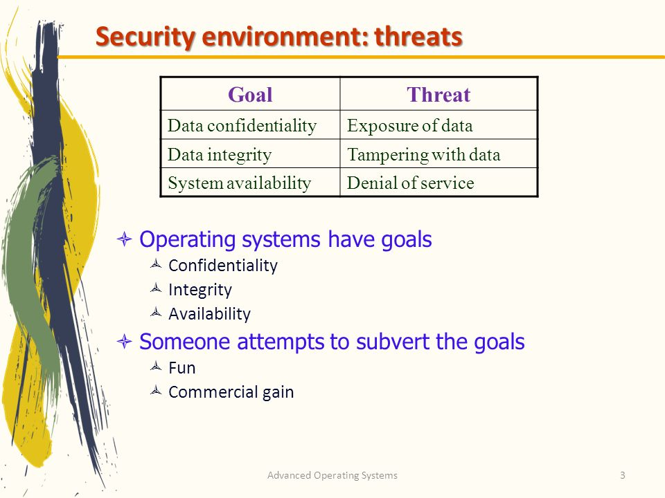 Advanced Operating Systems3 Security environment: threats GoalThreat Data confidentialityExposure of data Data integrityTampering with data System ava
