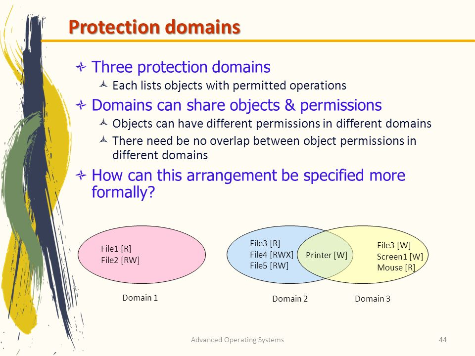 Advanced Operating Systems44 Protection domains Three protection domains Each lists objects with permitted operations Domains can share objects & perm
