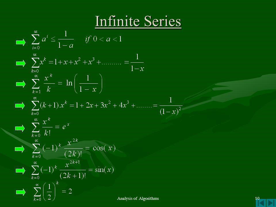 Infinite Series Analysis of Algorithms10