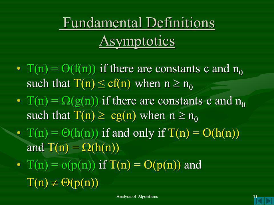 Fundamental Definitions Asymptotics Fundamental Definitions Asymptotics T(n) = O(f(n)) if there are constants c and n 0 such that T(n) cf(n) when n n